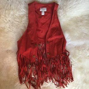 Red suede fringe vest